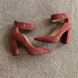 Shoes - qupid Maroon pointed chunky heel with ankle strap